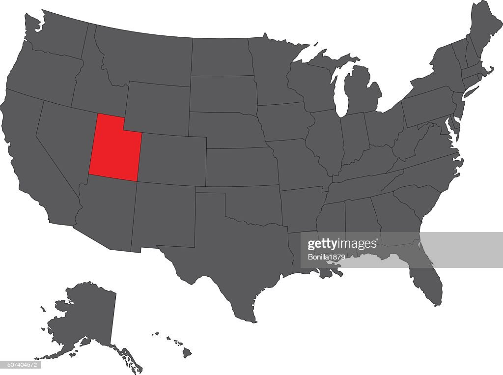 Utah red map on gray USA map vector