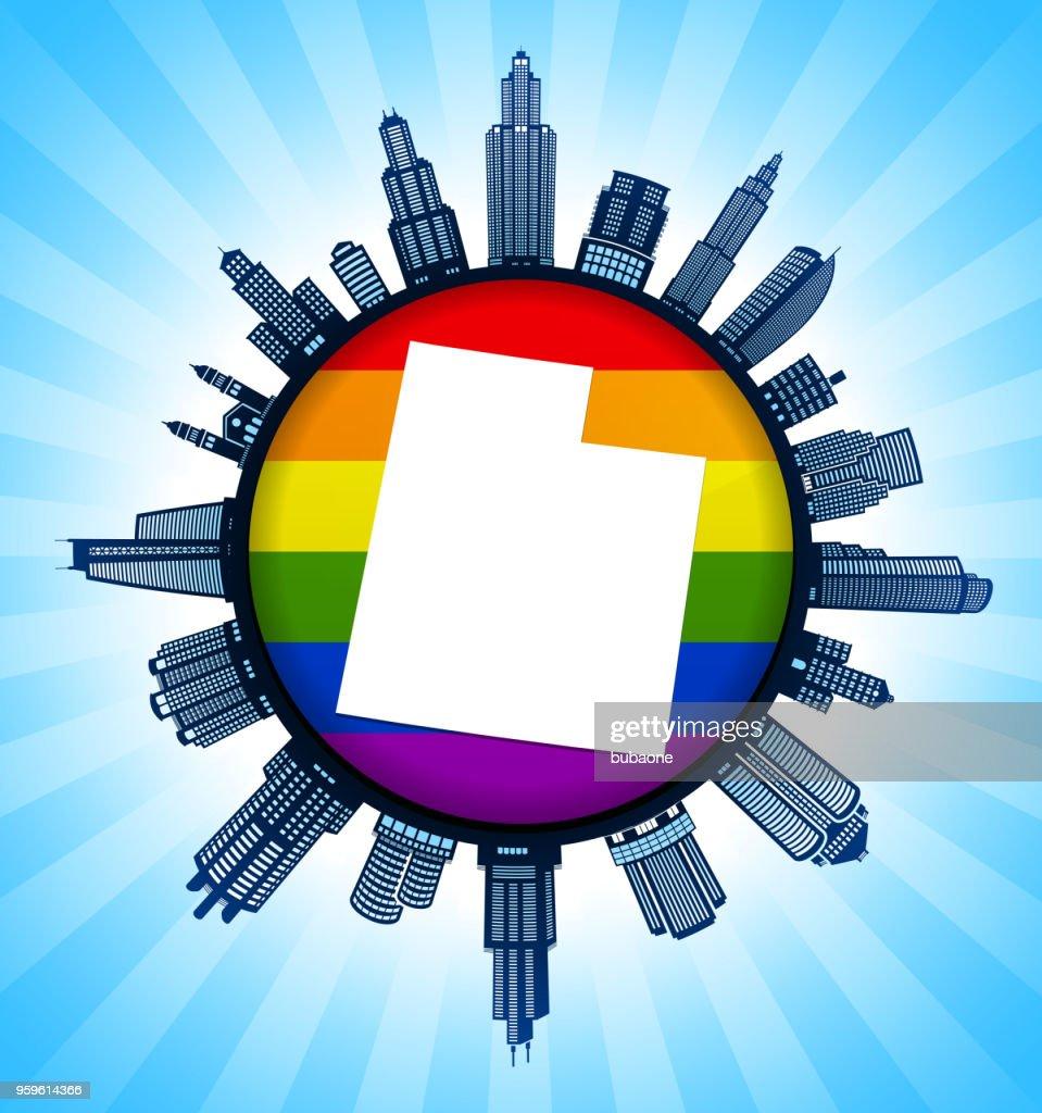 Karte der Utah State University auf Gay Pride Stadt Skyline Hintergrund : Stock-Illustration