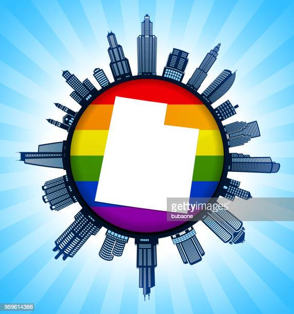 utah state map on gay pride city skyline background - marriage equality stock illustrations, clip art, cartoons, & icons