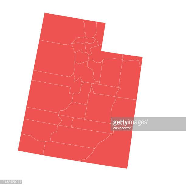 utah state map with counties - utah stock illustrations, clip art, cartoons, & icons