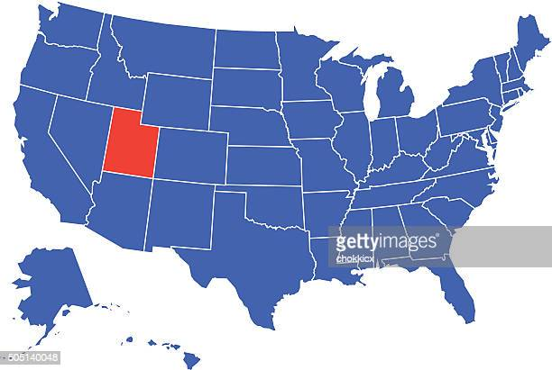 utah state selected in usa - utah stock illustrations, clip art, cartoons, & icons
