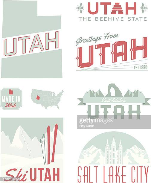 utah typography - natural arch stock illustrations, clip art, cartoons, & icons