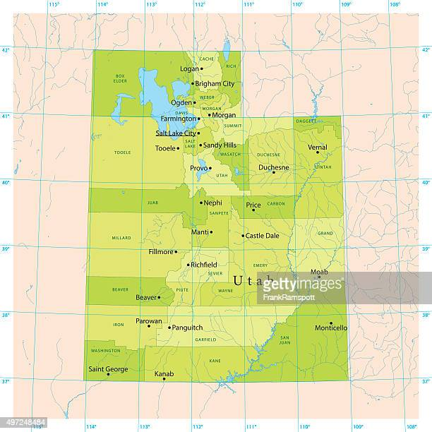 utah vector map - utah stock illustrations, clip art, cartoons, & icons