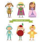 Сute kids in different costume