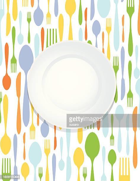 utensil fork spoon knife illustration - lunch stock illustrations