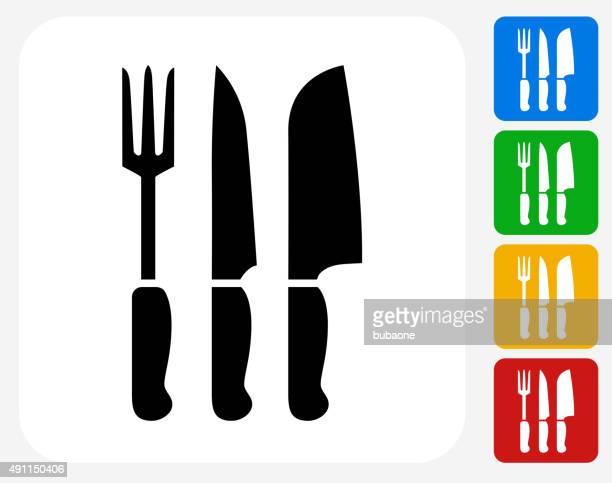 illustrations, cliparts, dessins animés et icônes de des ustensiles de cuisine d'icônes plat design graphique - boucherie