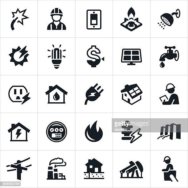 utilities icons - electricity stock illustrations, clip art, cartoons, & icons
