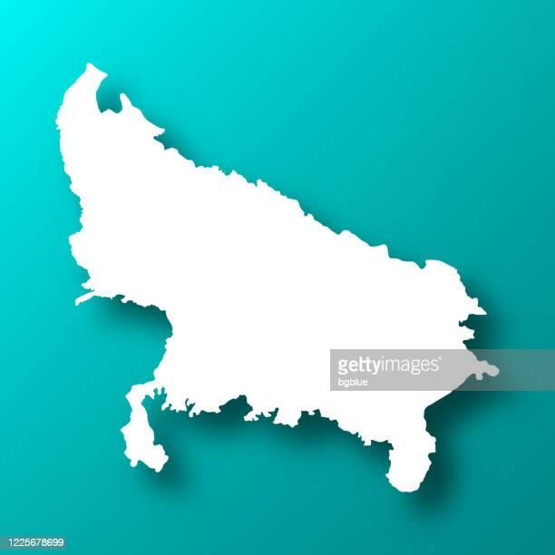 ilustraciones, imágenes clip art, dibujos animados e iconos de stock de mapa de uttar pradesh sobre fondo verde azul con sombra - uttar pradesh