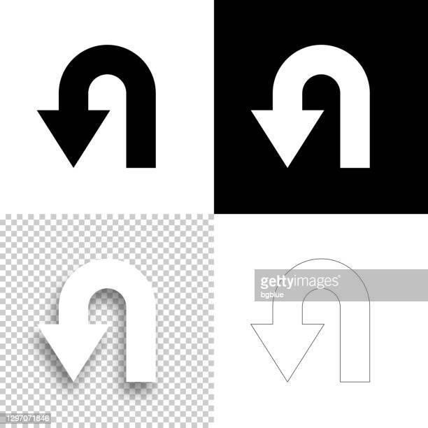 ilustraciones, imágenes clip art, dibujos animados e iconos de stock de flecha de dirección de giro en u. icono para el diseño. fondos en blanco, blanco y negro - icono de línea - devolución del saque