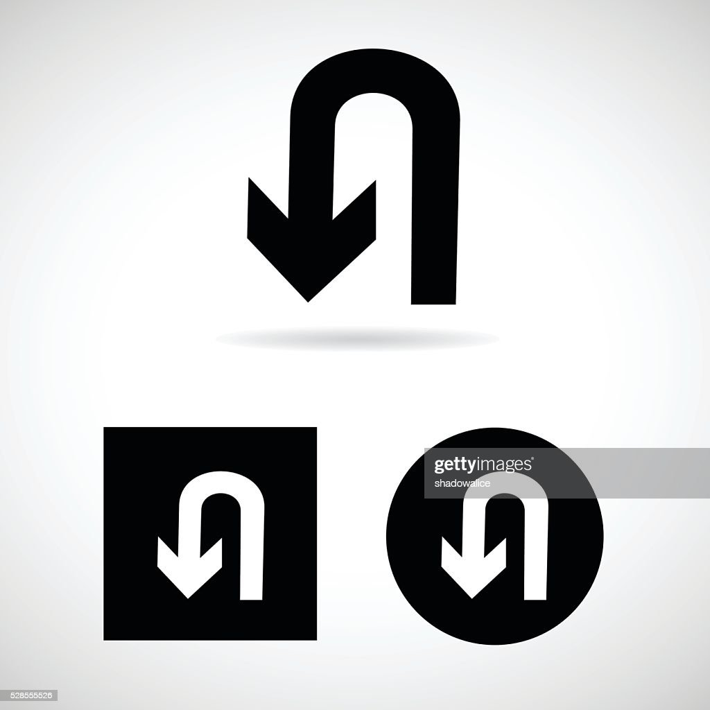 U-Turn Road sign isolated Vector EPS10, Great for any use.