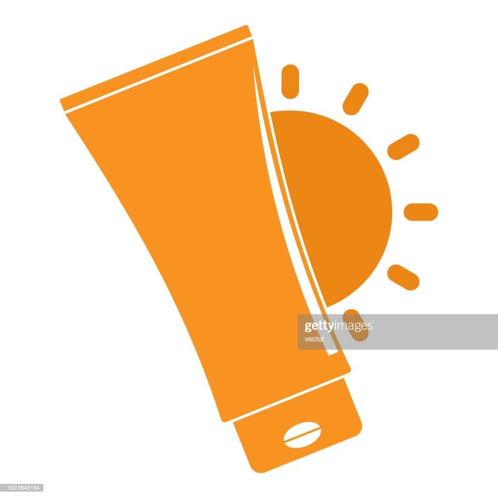 Uv sun cream logo, flat style