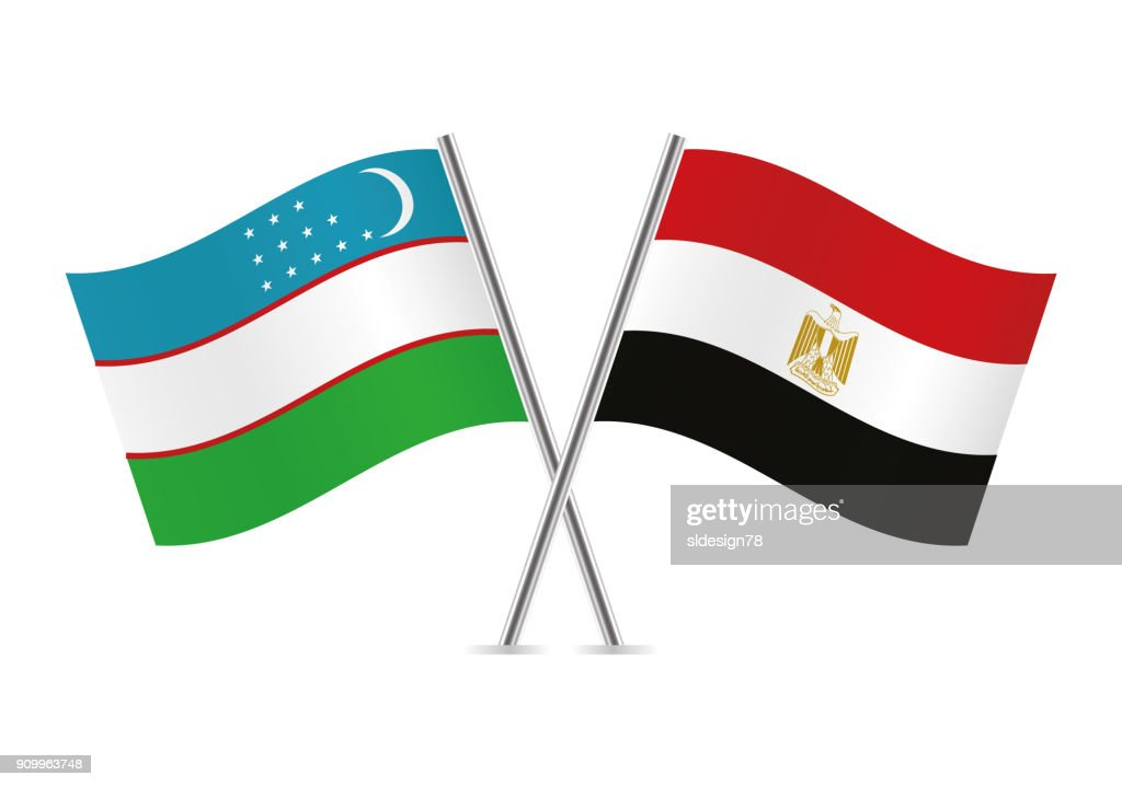 Uzbekistan and Egypt flags. Vector illustration.