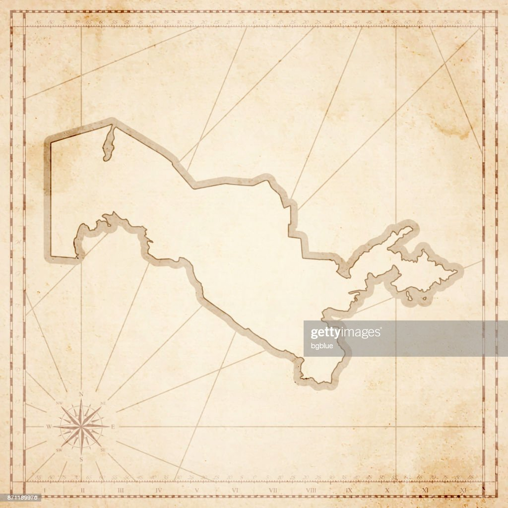 Uzbekistan map in retro vintage style - old textured paper