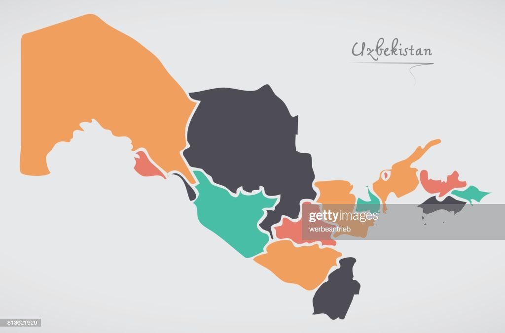 Uzbekistan map with states and modern round shapes vector art uzbekistan map with states and modern round shapes vector art gumiabroncs Image collections