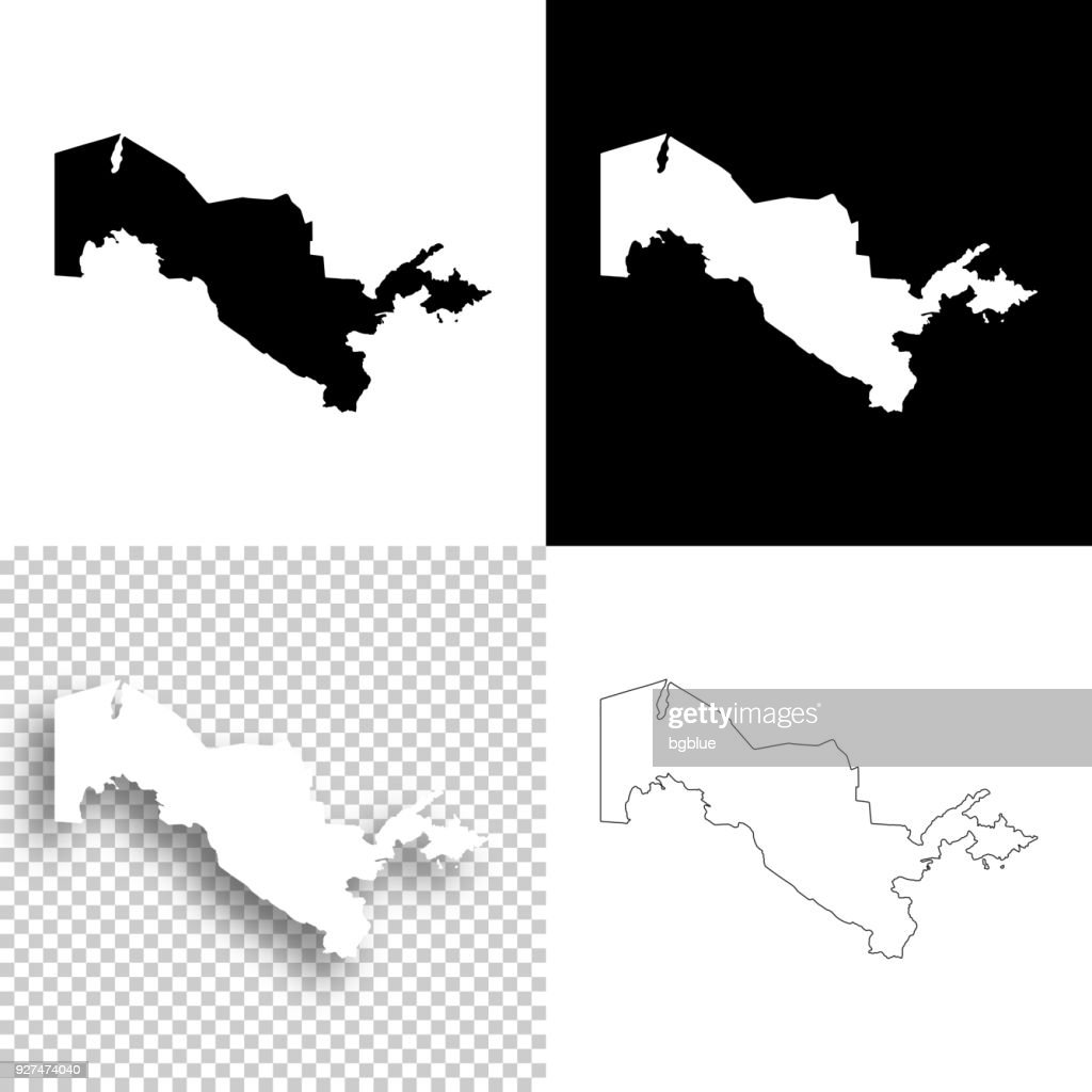 Uzbekistan maps for design - Blank, white and black backgrounds