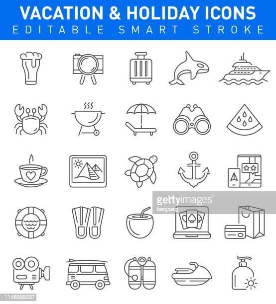 stockillustraties, clipart, cartoons en iconen met vakantie en zomervakantie iconen. bewerkbare lijn - strandparasol