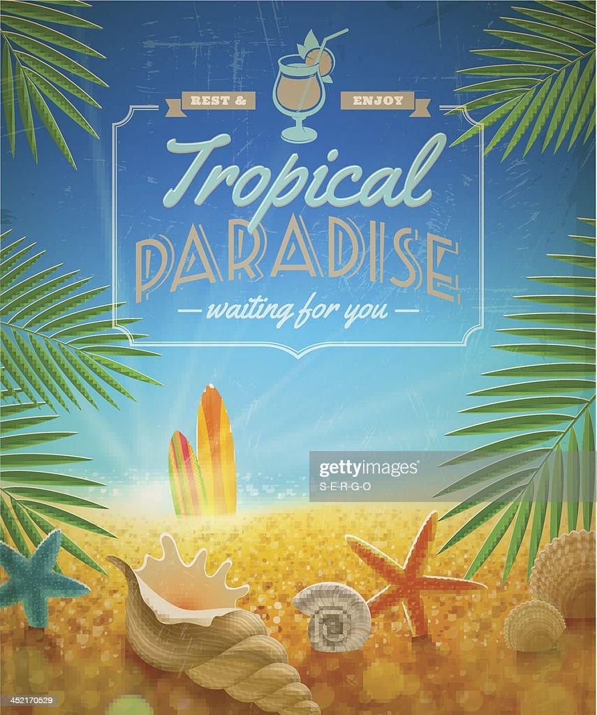 Vacation and summer holidays retro vector design