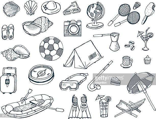 vacation and travel doodles - tent stock illustrations, clip art, cartoons, & icons