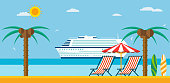 Vacation and travel. Sea beach with lounger and umbrella, cruise ship in the sea.