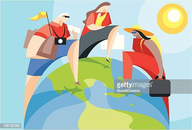 vacation destination - stepping stock illustrations, clip art, cartoons, & icons