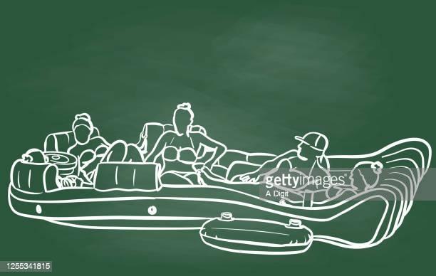 illustrations, cliparts, dessins animés et icônes de tableau de flottement de groupe de vacances - matelas pneumatique