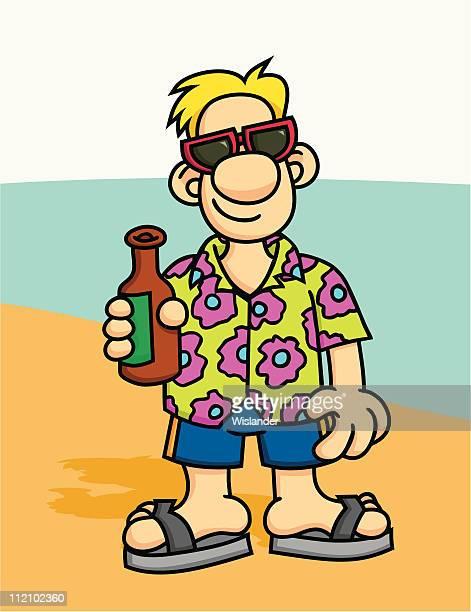 vacation guy with beer - hawaiian shirt stock illustrations