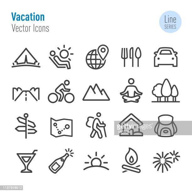 ilustrações, clipart, desenhos animados e ícones de ícones das férias-linha série do vetor - atividades de fins de semana