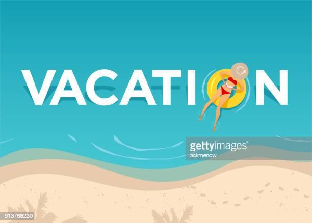 vacation on the beach - beach holiday stock illustrations, clip art, cartoons, & icons