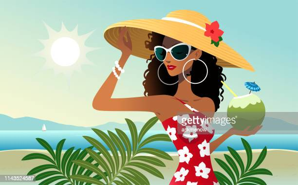 vacation on the seaside - straw hat stock illustrations