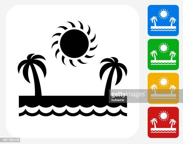 Vacation Paradise Icon Flat Graphic Design
