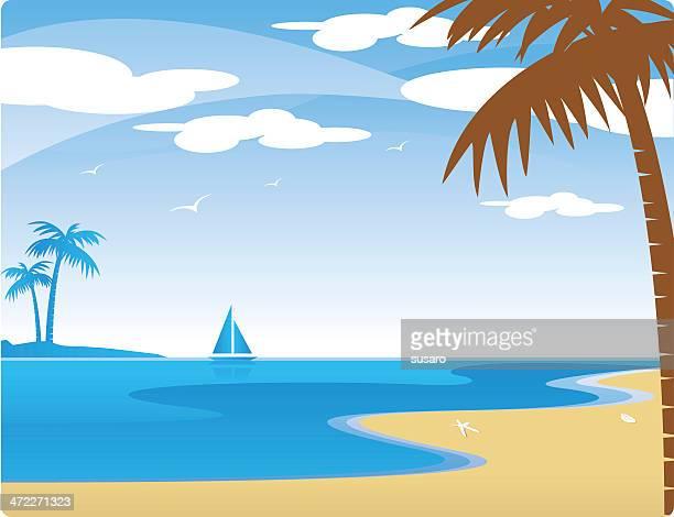ilustraciones, imágenes clip art, dibujos animados e iconos de stock de escena de vacaciones - vista marina