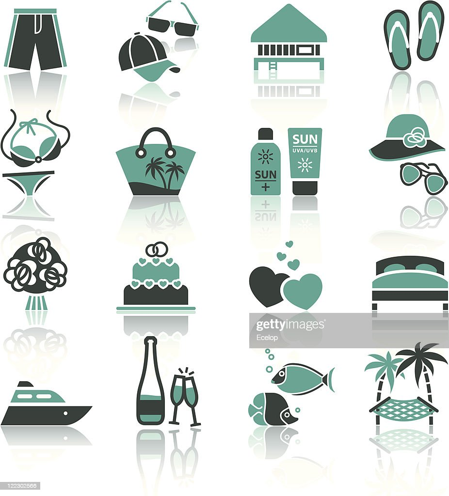 Vacation, Travel & Recreation, icons set.