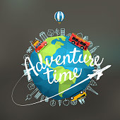 Vacation travelling composition with the Earth. Adventure time concept