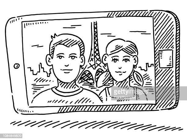 Urlaub Reise Foto auf Smartphone paar Zeichnung
