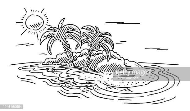 Urlaub Tropical Island Sonne und Ocean Drawing