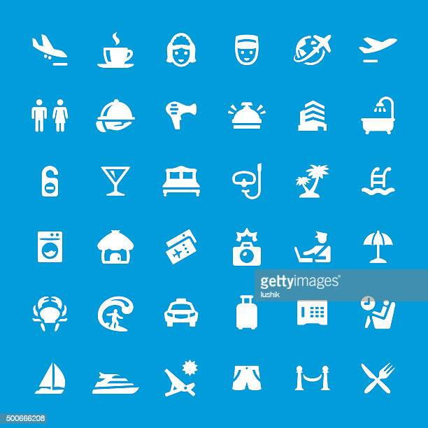 Vacations and Travel vector icons set