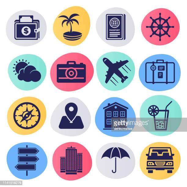 Vacations & Cheap Flights Liquid Style Vector Icon Set