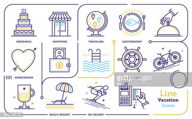 vacations line icon set - leisure activity stock illustrations, clip art, cartoons, & icons