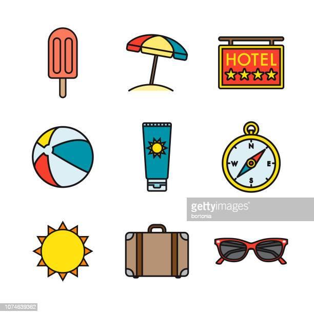 stockillustraties, clipart, cartoons en iconen met vakanties dunne lijn icon set - strandparasol