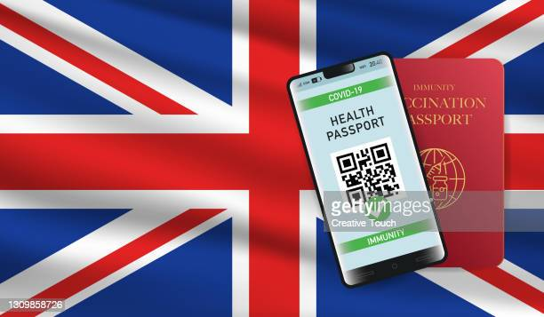 vaccination and immunity passport for united kingdom - all european flags stock illustrations