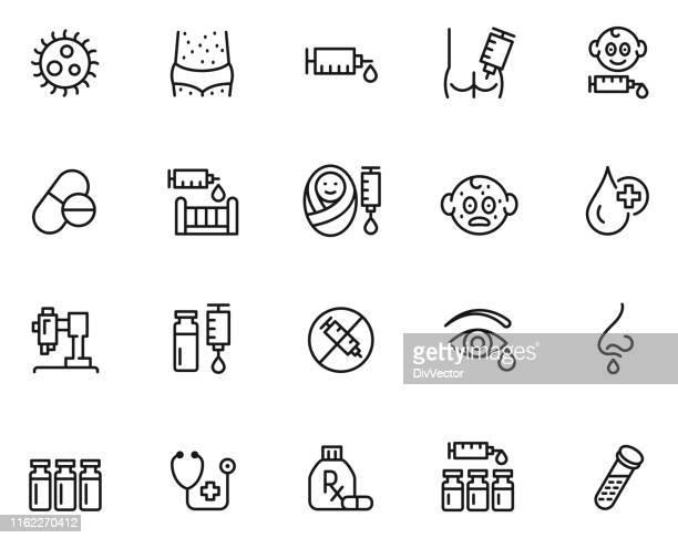 vaccination icon set - immune system stock illustrations