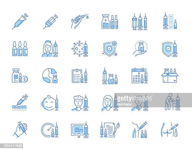 vaccination line icon set - antibody stock illustrations