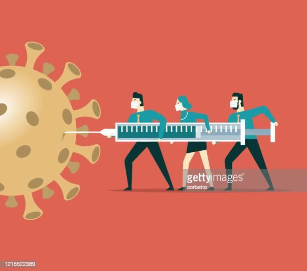 vaccine for new coronavirus - solutions stock illustrations