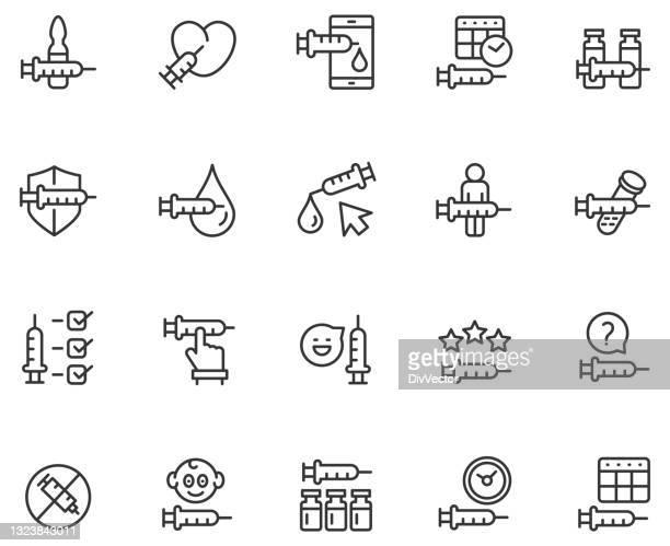 vaccine icon set - hepatitis stock illustrations