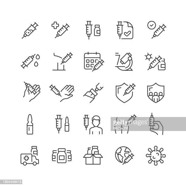 vaccine line icons editable stroke - menschlicher arm stock-grafiken, -clipart, -cartoons und -symbole