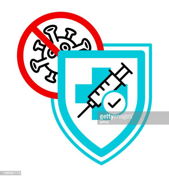 vaccine protection flat icon. - shielding stock illustrations