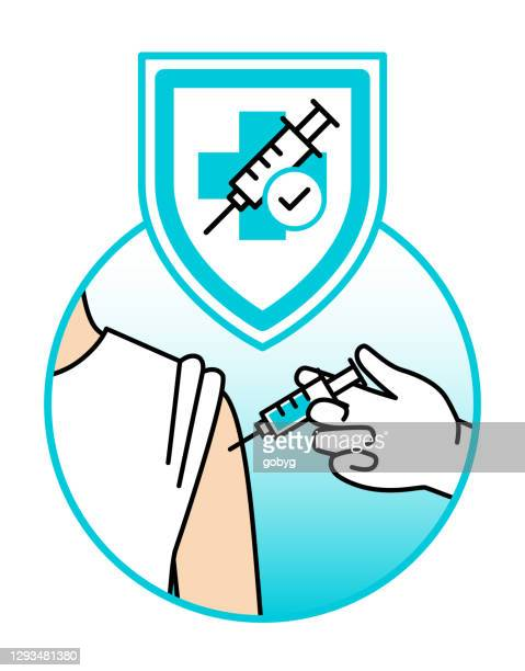 vaccine protection flat icon - medical injection stock illustrations