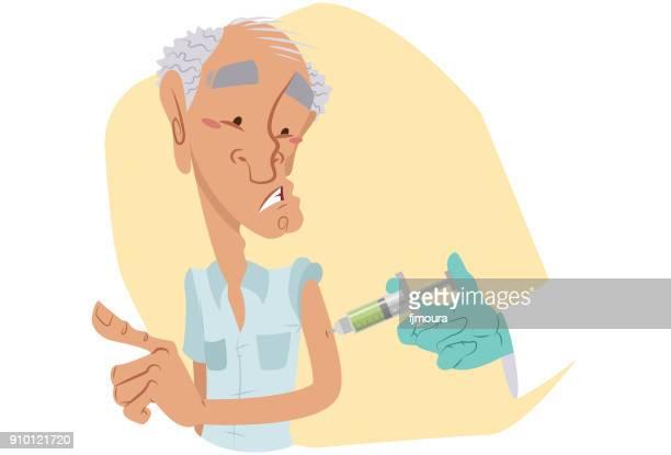 ilustraciones, imágenes clip art, dibujos animados e iconos de stock de vacinando o idoso - hombre sensible