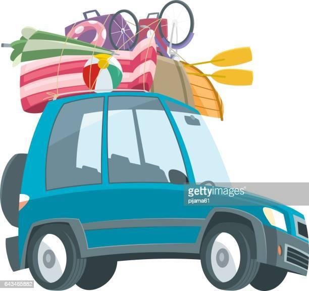 illustrations, cliparts, dessins animés et icônes de vactor voyage voiture - matelas pneumatique