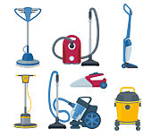 Vacuum cleaner. Modern automatic electrical gadgets for cleaning service vector cartoon set
